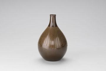 利形花瓶7寸銀線文古銅色