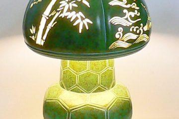亀甲に四季の図照明器